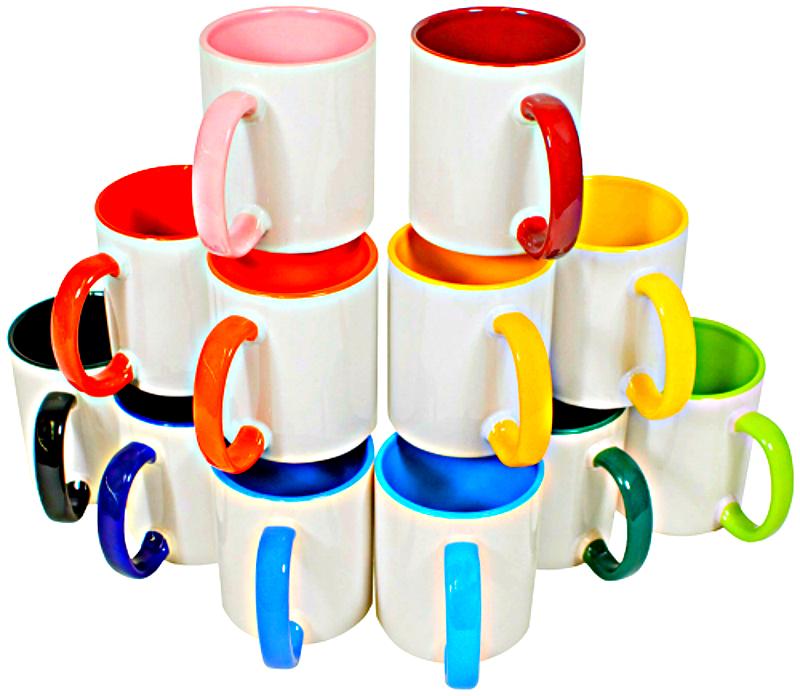 Divkrāsu krūze ar krāsainu iekšu un osu - paredzēta pilnkrāsu apdrukai