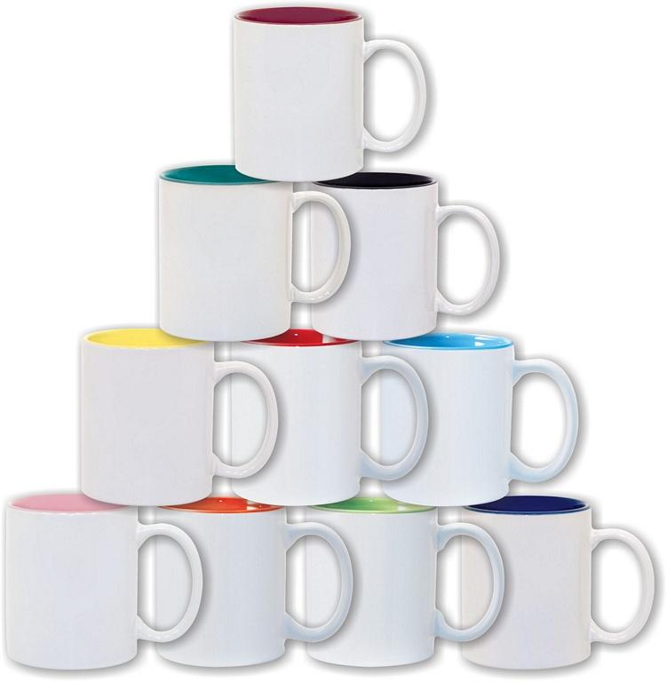 Divkrāsu krūze ar krāsainu iekšpusi - paredzēta pilnkrāsu apdrukai