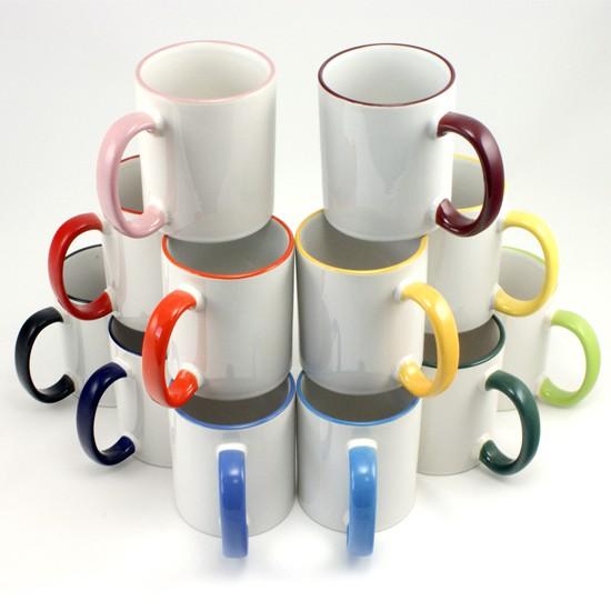 Divkrāsu krūze ar krāsainu malu un osu - paredzēta pilnkrāsu apdrukai